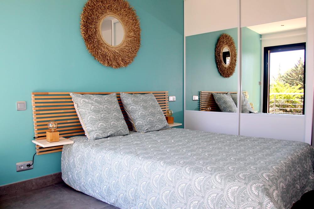 Chambre Jade couleur douce accueillante espace de repos et de détente dans notre villa en location saisonnière sur Montpellier